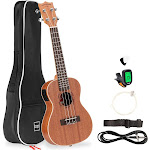 Best Choice Products 23in Acoustic Electric Concert Sapele Ukulele Starter Kit w/ Built-in Tuner