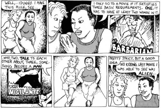 Imagen de la tira cómica llamada 'The Rule' que aparecía en la página 22 de 'Unas lesbianas de cuidado', en 1985