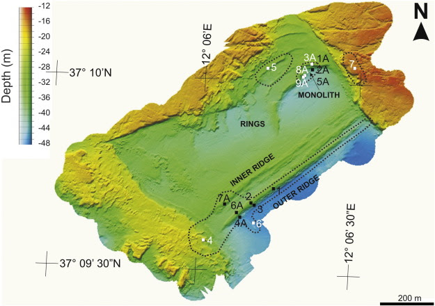 High-resolution bathymetric map of part of the PVB. The 820m long rectilinear ...