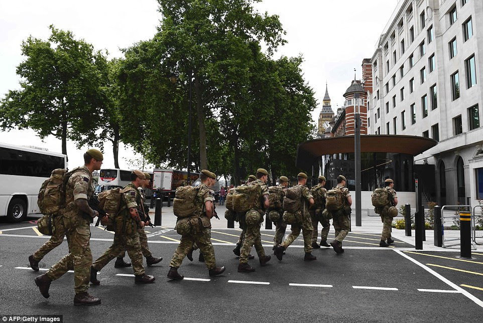 Thousands of troops will be deployed to guard 'key locations' amid fears another attack is 'imminent'. British soldiers were pictured arriving by bus this morning and heading towards a building near New Scotland Yard in London