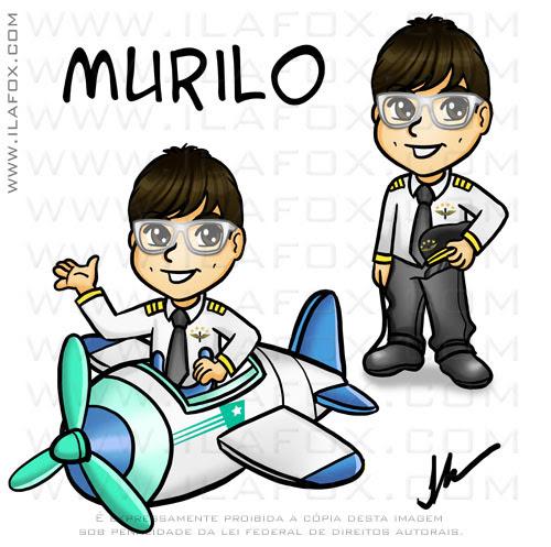 Desenho personalizado, caricatura desenho, Murilo, piloto avião, aviãozinho, by ila fox by ila fox