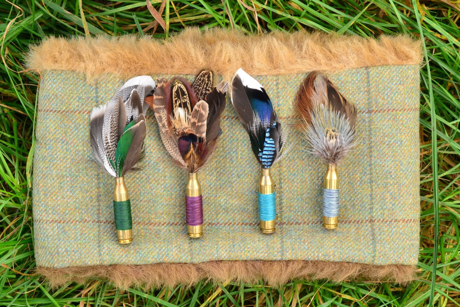 Upcycled brass bullet brooch pin with real bird feathers- duck, pheasant- unisex buttonhole winter wedding groom