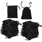 50-Piece Jewelry Pouch Drawstring Bags - Velvet Cloth Storage Pouch for Jewelry, Dice, Favor, Black, 3.37 x 2.5 Inches