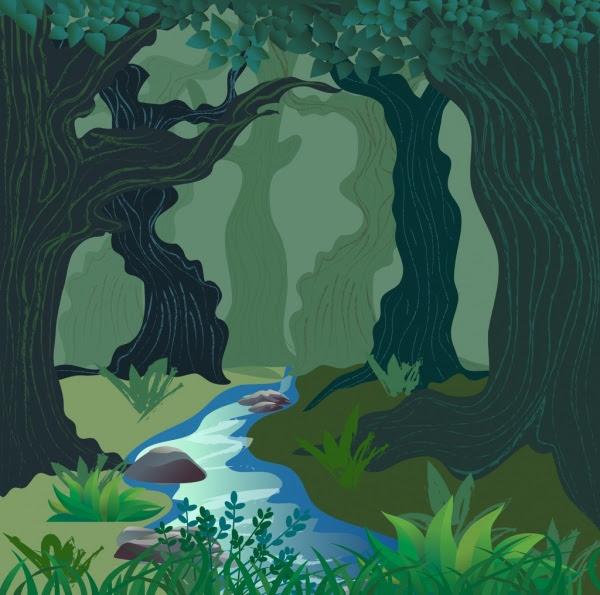 Alam Adegan Menggambar Hutan Stream Ikon Berwarna Sketsa Vektor Icon