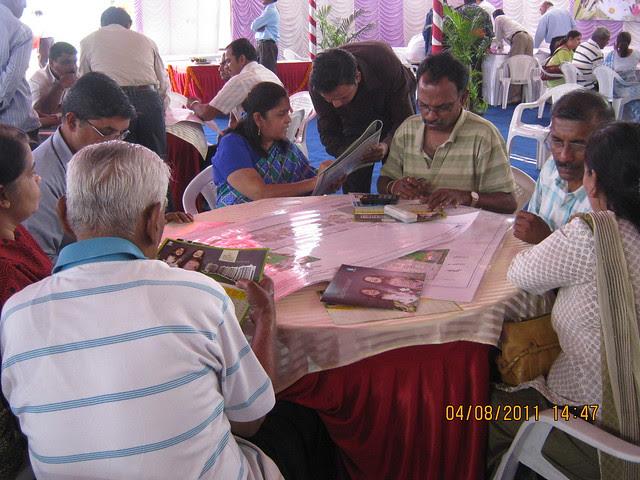 Mrs. Hemanti Kulkarni, President, D S Kulkarni Developers Ltd, with the property buyers at the launch of DSK Kunjaban - 1 BHK 2 BHK Flats - Punawale - off Mumbai Bangalore Bypass - Pune 411 045