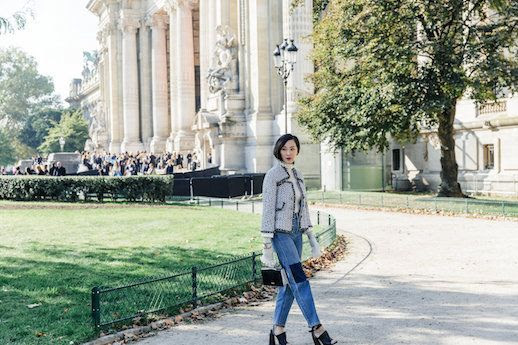 Le Fashion Blog Tweed Jacket Modern Turtleneck Denim Via The Chriselle Factor