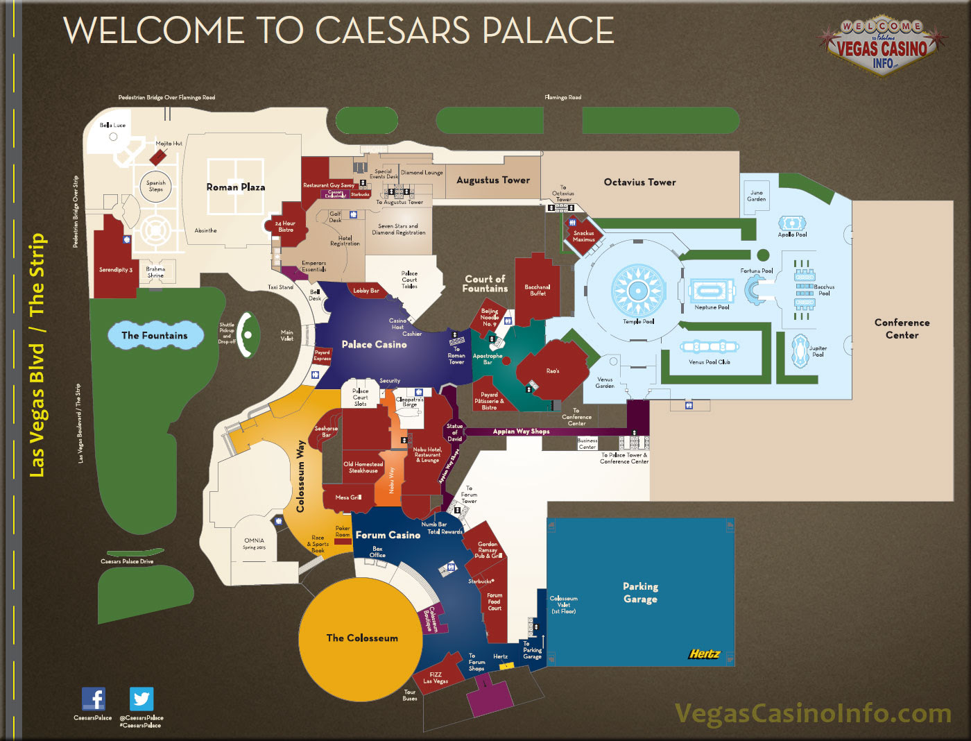 Julius Tower Caesars Palace Map