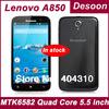 Free Shipping 5.5 inch Original Lenovo A850 A850i Cell phonse 1GB 4GB Quad core MTK6582M WCDMA 3G Android4.2 white black/ koccis