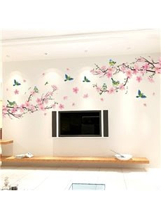 Wonderful Blossom Peach Flowers Wall Sticker Living Room Staircase TV Background Stickers
