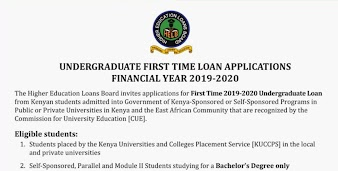 First Time HELB Loan application for KUCCPS 2019 students (Undergraduate)