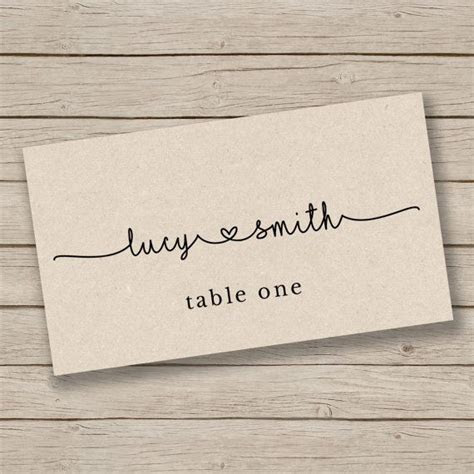 Printable Escort Card Template   Place Card Template