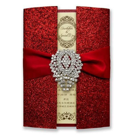 Luxury Shiny Red Wedding Invitation Cards Royal Wedding