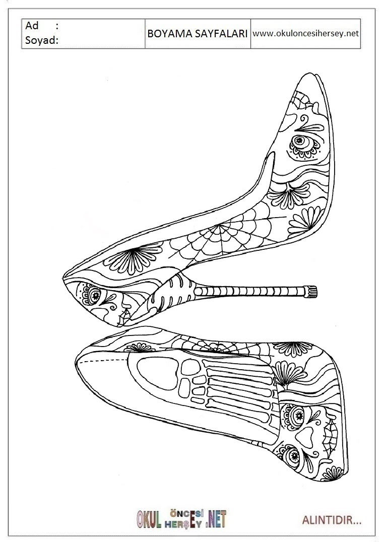 Topuklu Ayakkabı Boyama Sayfaları