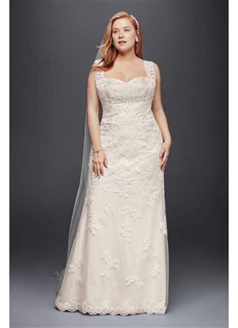 Plus Size Sheath Wedding Dress with Tank Straps   Davids