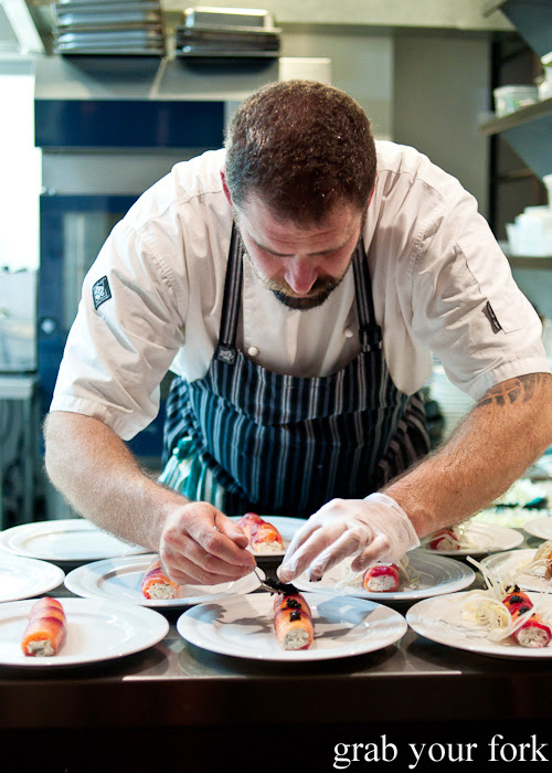 Adding caviar to gravlax at Restaurant Dansk for A Danish Food Trail