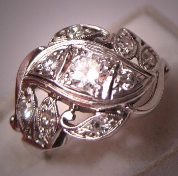 Antique Diamond Wedding Ring Vintage Art Deco White Gold