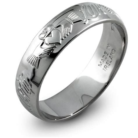 Mans Sterling Silver Claddagh Wedding Ring MS RS44