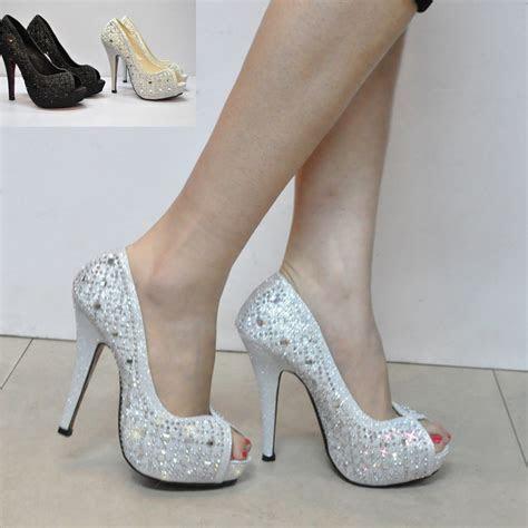 2015 silver bridal wedding shoes rhinestone paillette open