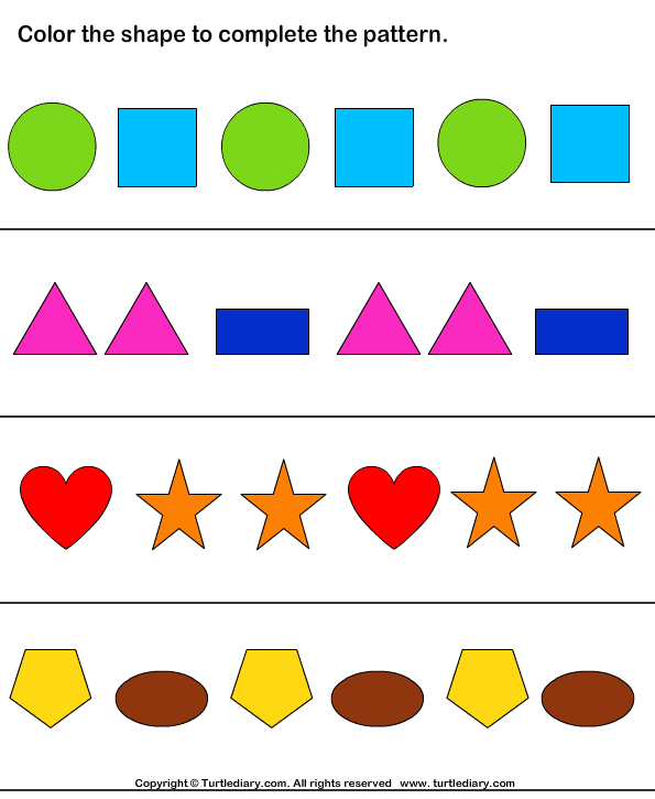 answer color the shapes to continue patterns