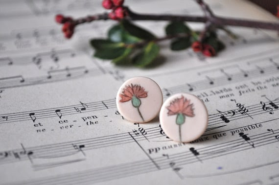 pink flower earrings - small vintage inspired hand painted studs
