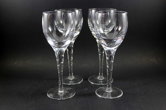 Heavy Crystal Stemware, Twisted Stem, White (4)