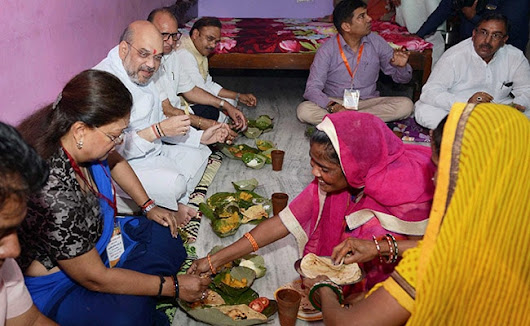 Dal-Rice On Leaf Plates: Amit Shah Has Lunch With Dalit Family In Jaipur