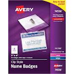 """Avery Clip Style Name Badges, 3"""" x 4"""", 50 Badges (74536)"""