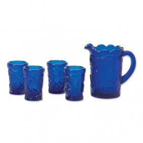 Blue Glass Pouring Set