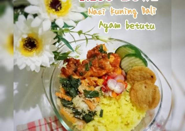 Cara Termudah Untuk Membuat Lezat RICE BOWL (Nasi kuning Bali_Ayam Betutu) Cara Bunda Judith Recipe
