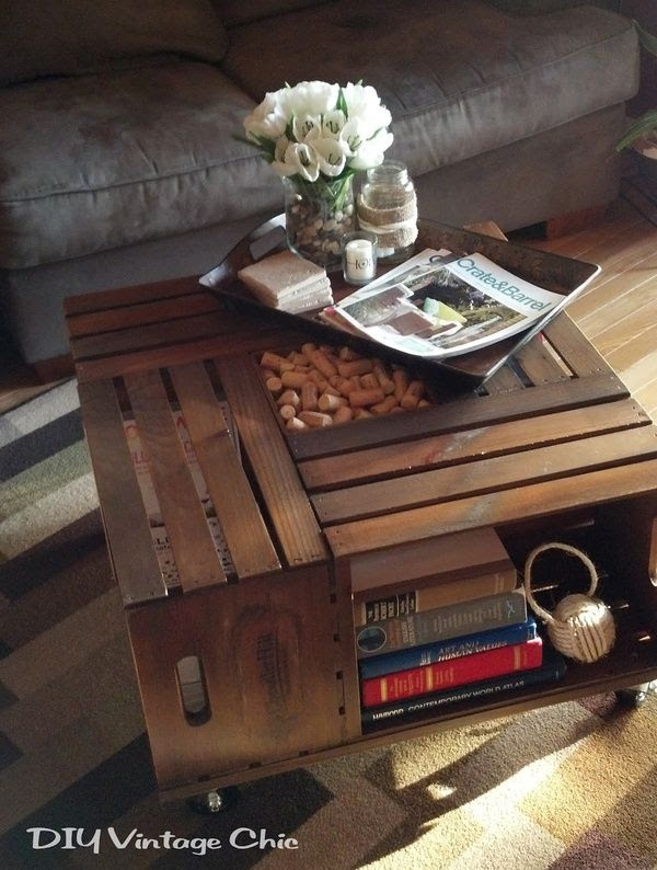 DIY Coffee Table. You can buy these crates at any craft store.    Regardless of whether your an artist or creative, I refuse to pay 500+ for a new coffee table. My first thought was making a pallet coffee table. Pallets are free and with a few scrapes of wood you could throw it together fairly easy. BUT, everyone's doing that now, so I had to find