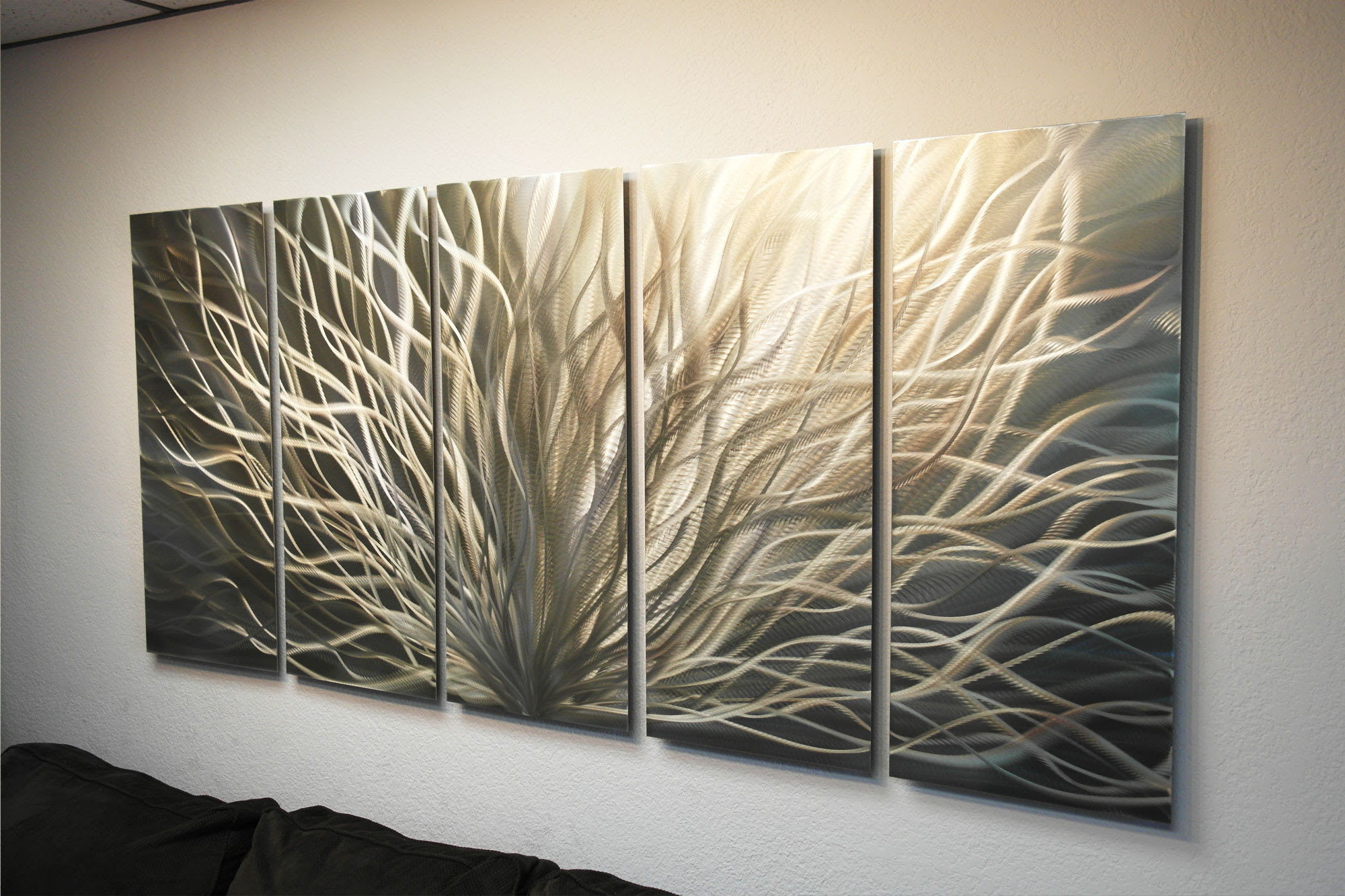 Radiance Gold Silver 36x79 - Metal Wall Art Abstract ...