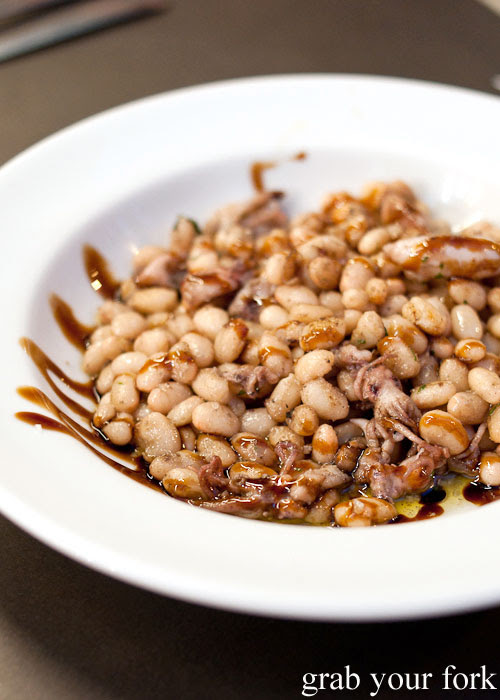 Chipirones con Judias squid with haricot beans at Bar Pinotxo, La Boqueria, Barcelona