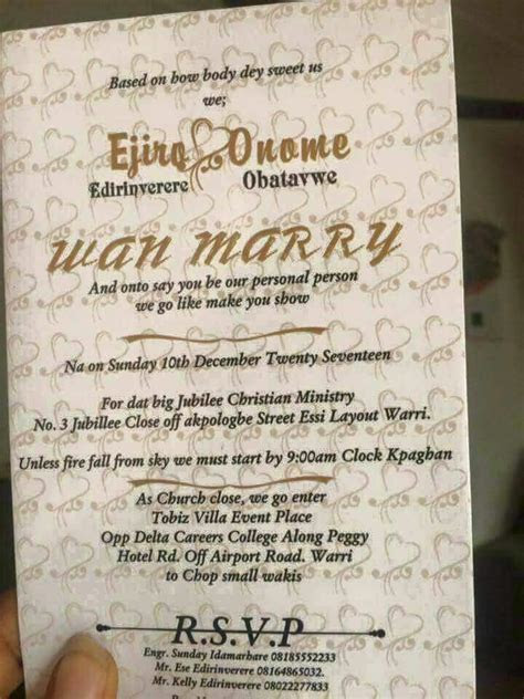 See The Funniest Nigerian Wedding Invitation Cards  For