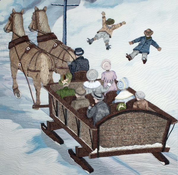 Large sleigh with snow angels
