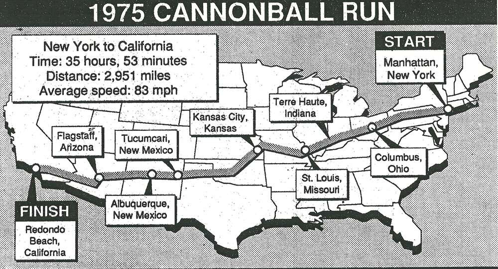 Image result for cannonball run route map