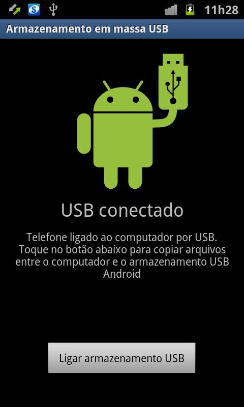 """Toque no botão """"Ligar armazenamento USB"""" (Foto: Reprodução/Thiago Bittencourt)"""