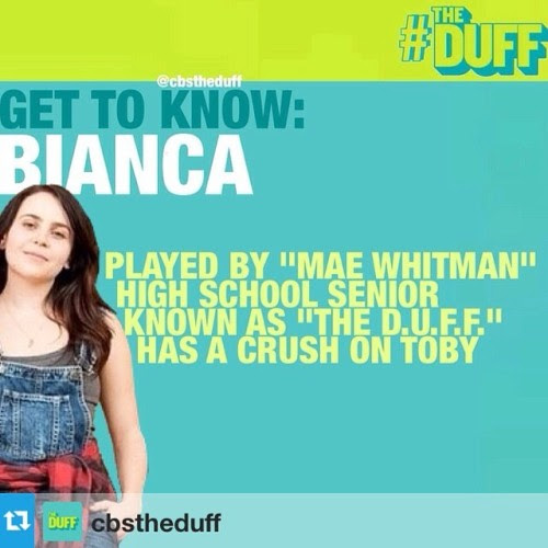 thenovl:  Meet Bianca, brought to life by Mae Whitman!We can't wait to see her in the movie adaptation ofkodykeplinger'sThe Duff.