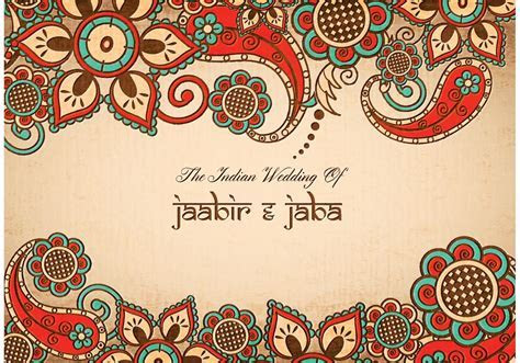 Free vector colorful indian wedding card   WEDDING
