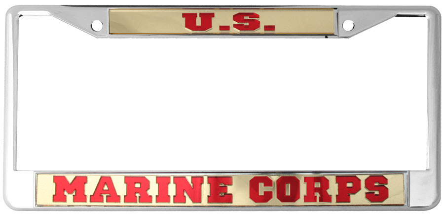 Us Marine Corps Mirrored Inlaid Plastic License Plate Frame North