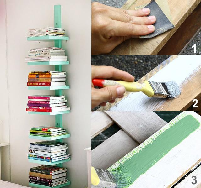 passo a passo prateleira de livros