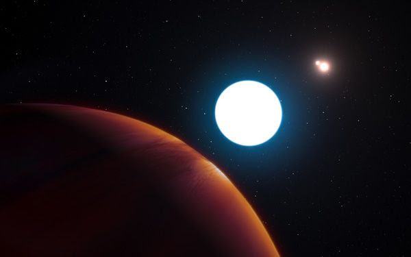 An artist's concept of the exoplanet HD 131399Ab (foreground) orbiting among the three stars in its system.