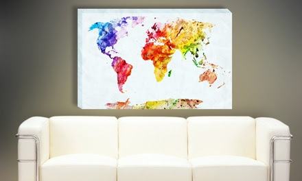 World Maps Canvas Prints in Choice of Size from AED 49 (Up to 75% Off)