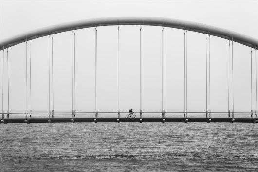 Public Domain Images - Bicycle Bridge Black White River - Public Domain Images | Free Stock Photos