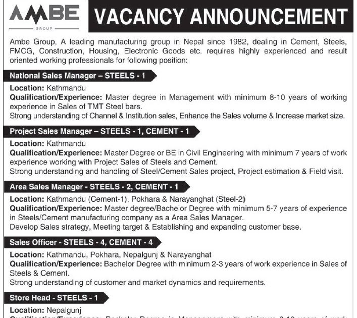 Career Opportunity at AMBE Group - || Gyanmandu || - Fastest