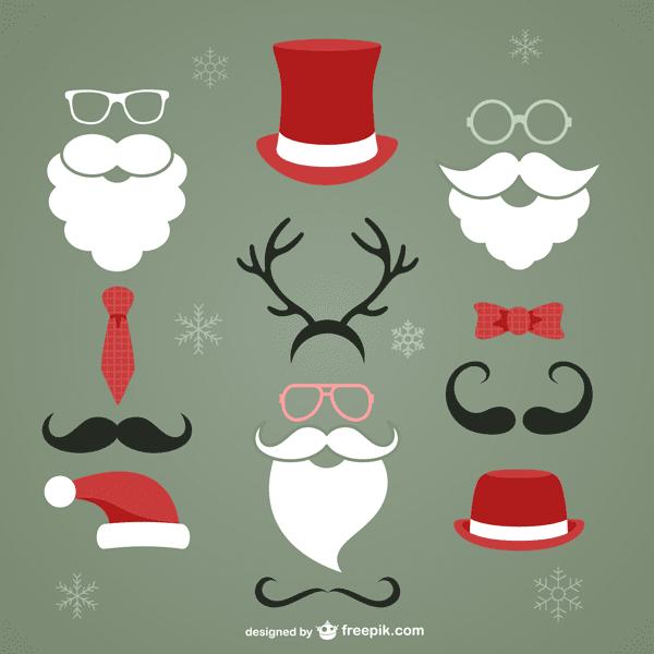 フリー素材 サンタクロースのヒゲや帽子などのイラストのベクター