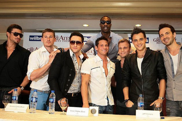 Duncan James, Lee Ryan, Antony Costa, and Simon Webbe (back) of Blue, Jeff Timmons of 98 Degrees, and Christian Ingebrigsten, Ben Adams, and Mark Read of A1 during their press conference held at te Edsa Shangri-La Hotel in Mandaluyong City, Metro Manila on 24 February 2012 (Voltaire Domingo/NPPA Images)