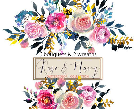 Watercolor Flowers Digital Clipart Png Bouquets Peonies Roses Floral