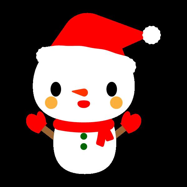 縁無しでかわいいクリスマス雪だるまの無料イラスト商用フリー オイデ43
