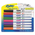 Low-Odor Dry-Erase Marker, Extra-Fine Needle Tip, Assorted Colors, 8/Set 1884309