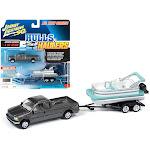 Johnny Lightning JLBT012B-JLSP069 2004 Ford F-250 Pickup Truck Dark Shadow Gray Metallic with Pontoon Boat Limited Edition to 4 504 Pieces Worldwide H